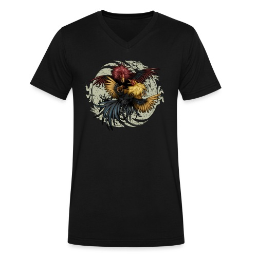 Ying Yang Gallos by Rollinlow - Men's V-Neck T-Shirt by Canvas