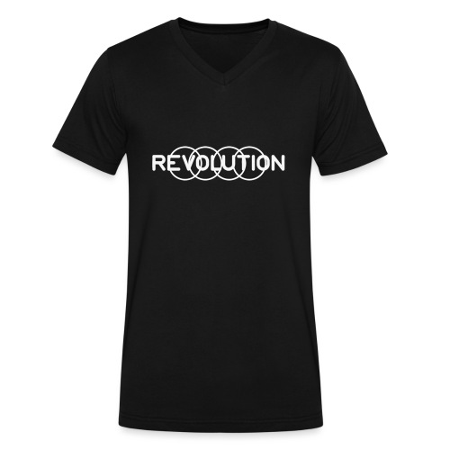 White Revolution Logo - Men's V-Neck T-Shirt by Canvas