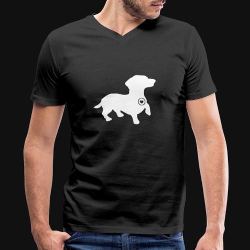Dachshund silhouette white - Men's V-Neck T-Shirt by Canvas