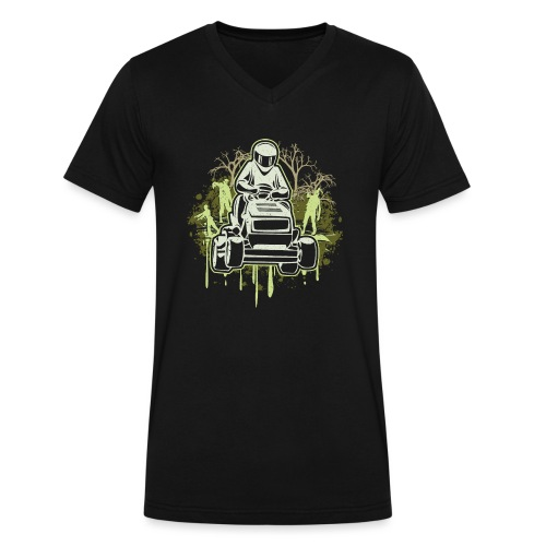 Lawn Mower Racing Zombies - Men's V-Neck T-Shirt by Canvas