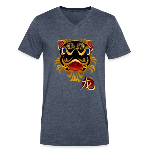 Black n Gold Chinese Dragon 's Face and Symbol - Men's V-Neck T-Shirt by Canvas