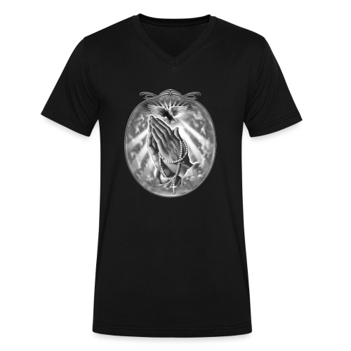 Praying Hands by RollinLow - Men's V-Neck T-Shirt by Canvas