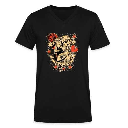 Screwed & tattooed Pin Up Zombie - Men's V-Neck T-Shirt by Canvas