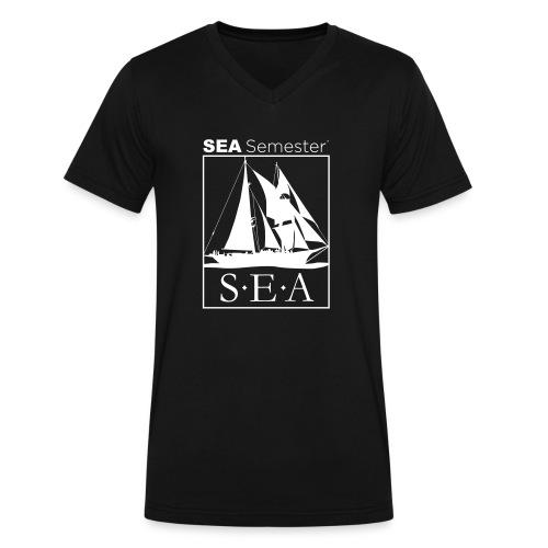 SEA_logo_WHITE_eps - Men's V-Neck T-Shirt by Canvas