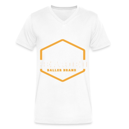 The Bearded Baller Brand White and Gold - Men's V-Neck T-Shirt by Canvas