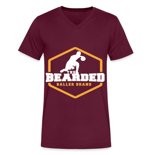 The Bearded Baller Brand White and Gold - Men's V-Neck T-Shirt by Canvas
