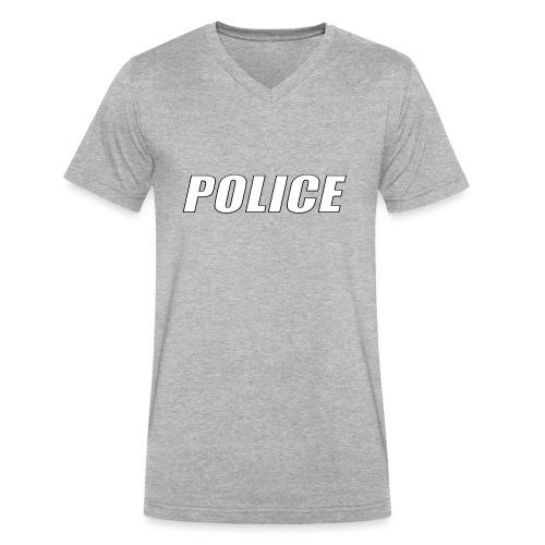 Police White - Men's V-Neck T-Shirt by Canvas