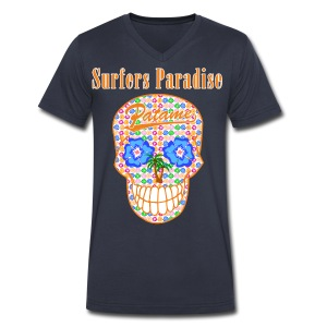 Patame Surfers Paradise Skull Orange - Men's V-Neck T-Shirt by Canvas