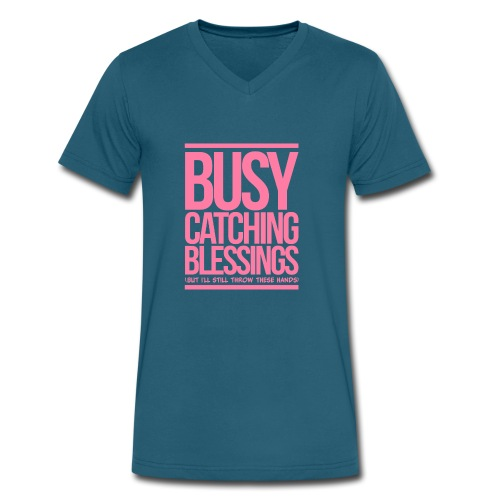 Busy Catching Blessings - Men's V-Neck T-Shirt by Canvas