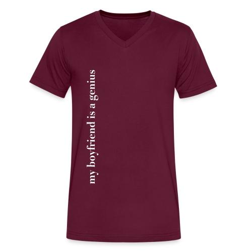 my boyfriend is a genius png - Men's V-Neck T-Shirt by Canvas