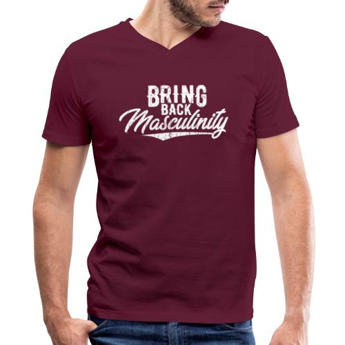 Bring Back Masculinity White Logo - Men's V-Neck T-Shirt by Canvas