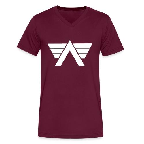 Bordeaux Sweater White AeRo Logo - Men's V-Neck T-Shirt by Canvas
