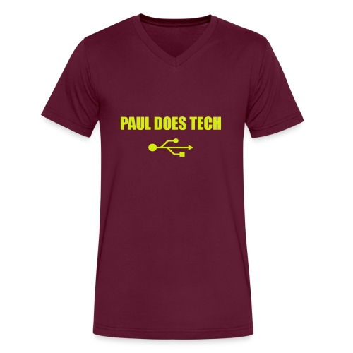 Paul Does Tech Yellow Logo With USB (MERCH) - Men's V-Neck T-Shirt by Canvas