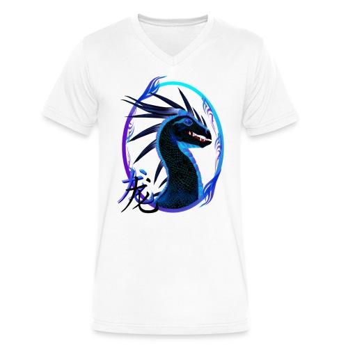 Horned Black Dragon and Symbol - Men's V-Neck T-Shirt by Canvas