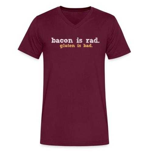 baconvsglutenlg whitetan - Men's V-Neck T-Shirt by Canvas