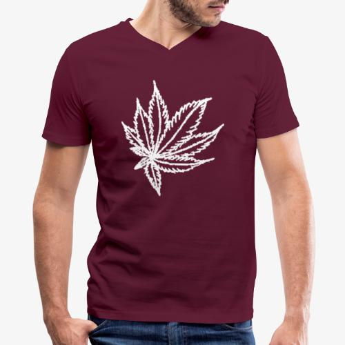 white leaf - Men's V-Neck T-Shirt by Canvas
