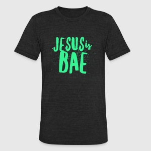 Jesus - Jesus Is Bae - Neon Green Text - Christi - Unisex Tri-Blend T-Shirt by American Apparel