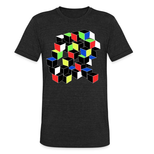 Optical Illusion Shirt - Cubes in 6 colors- Cubist - Unisex Tri-Blend T-Shirt