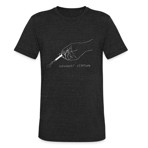 hand holding cig (etched in white) - Unisex Tri-Blend T-Shirt
