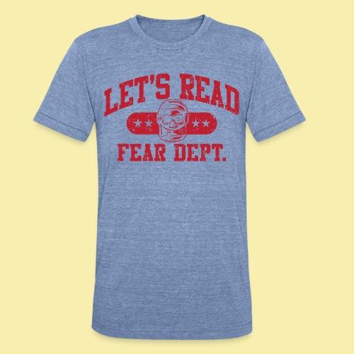 Fear Dept - Athletic Red - Inverted - Unisex Tri-Blend T-Shirt