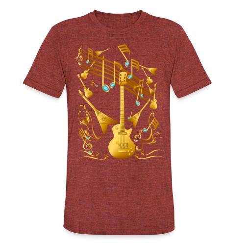 Gold Guitar Party - Unisex Tri-Blend T-Shirt
