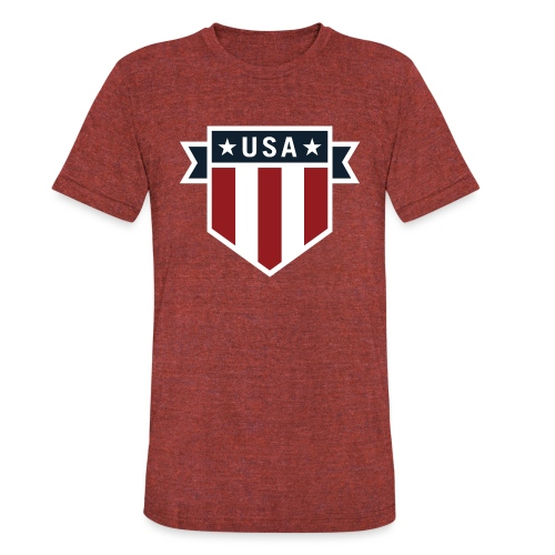 USA Pride Red White and Blue Patriotic Shield - Unisex Tri-Blend T-Shirt