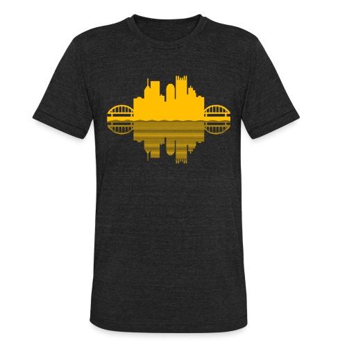 Pittsburgh Skyline Reflection (Gold) - Unisex Tri-Blend T-Shirt