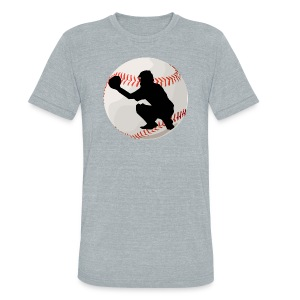 Baseball Catcher Silhouette - Unisex Tri-Blend T-Shirt by American Apparel