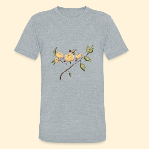 Honeybee Flower Design - Unisex Tri-Blend T-Shirt