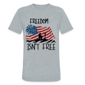 Freedom isn't free flag with fallen soldier design - Unisex Tri-Blend T-Shirt