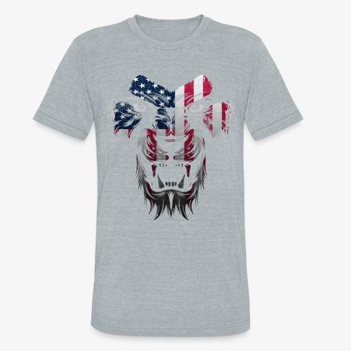 American Flag Lion Shirt - Unisex Tri-Blend T-Shirt