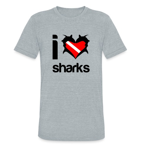 I Love Sharks - Unisex Tri-Blend T-Shirt