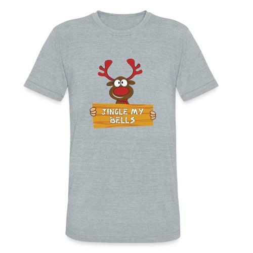 Red Christmas Horny Reindeer 1 - Unisex Tri-Blend T-Shirt