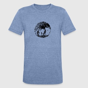Hiker and the crow - Unisex Tri-Blend T-Shirt by American Apparel