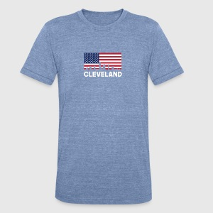 Cleveland OH American Flag Skyline - Unisex Tri-Blend T-Shirt by American Apparel