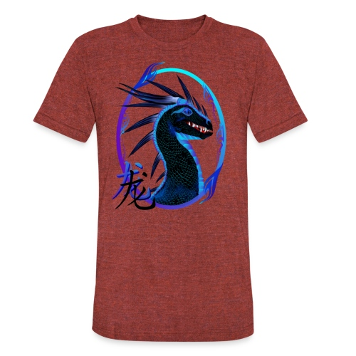 Horned Black Dragon and Symbol - Unisex Tri-Blend T-Shirt
