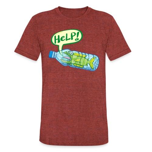 Fish inside a plastic bottle asking for help - Unisex Tri-Blend T-Shirt