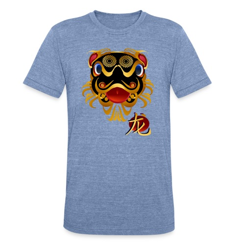 Black n Gold Chinese Dragon 's Face and Symbol - Unisex Tri-Blend T-Shirt