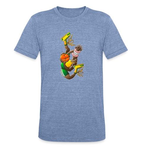 Acrobatic basketball player performing a high jump - Unisex Tri-Blend T-Shirt
