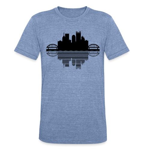 Pittsburgh Skyline Reflection (Black) - Unisex Tri-Blend T-Shirt