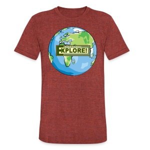 EXPLORE! Logo on the Earth - Unisex Tri-Blend T-Shirt by American Apparel