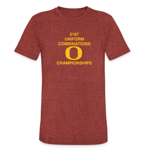 2187 UNIFORM COMBINATIONS O CHAMPIONSHIPS - Unisex Tri-Blend T-Shirt by American Apparel