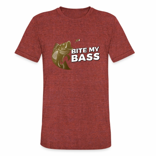 Bass Chasing a Lure with saying Bite My Bass - Unisex Tri-Blend T-Shirt