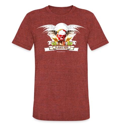 Planet Beer Skull & Keg Gothic 2 Tone - Unisex Tri-Blend T-Shirt