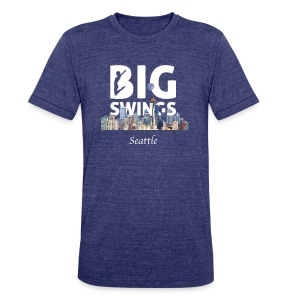 Seattle Skyline Big Swings Logo - Unisex Tri-Blend T-Shirt by American Apparel