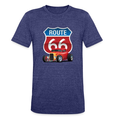 Route 66 Sign with Classic American Red Hotrod - Unisex Tri-Blend T-Shirt