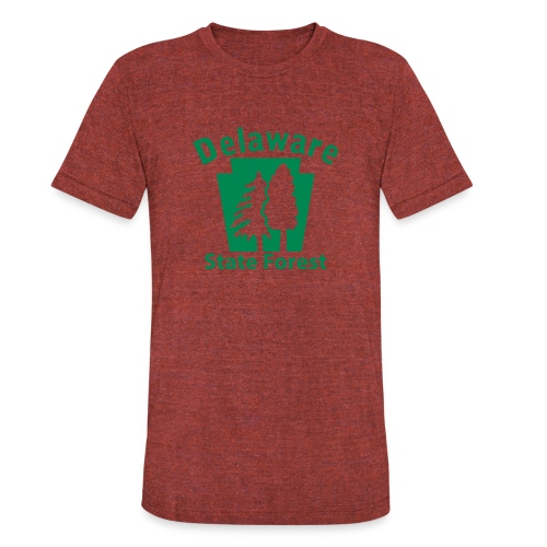 Delaware State Forest Keystone (w/trees) - Unisex Tri-Blend T-Shirt
