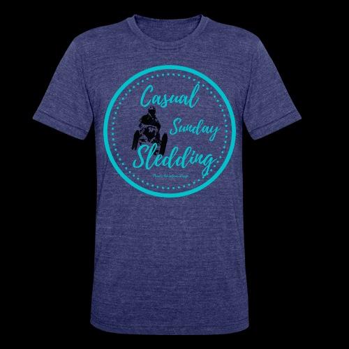 Casual Sunday Sledding -Teal - Unisex Tri-Blend T-Shirt