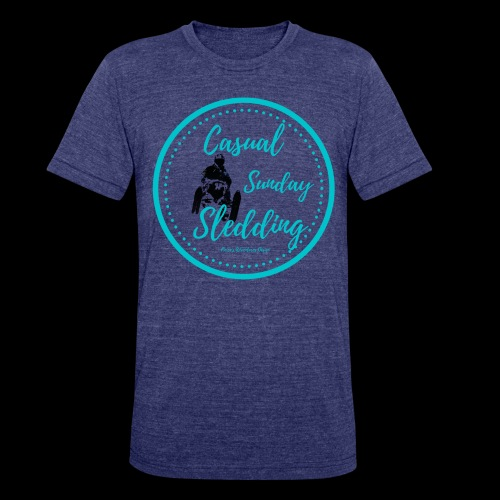Casual Sunday Sledding -Teal - Unisex Tri-Blend T-Shirt