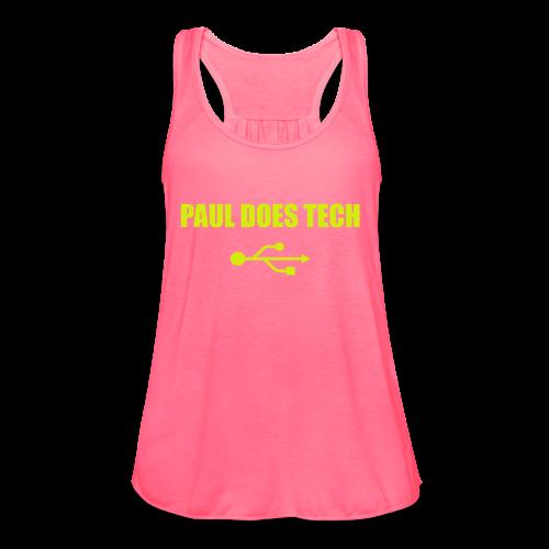 Paul Does Tech Yellow Logo With USB (MERCH) - Women's Flowy Tank Top by Bella